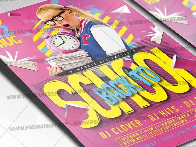 Back to School Event Flyer - PSD Template school flyer templates school flyer design backtoschool back2school back to school sales back to school psd template back to school poster back to school graphics back to school flyer back to school events back to school design back 2 school flyer