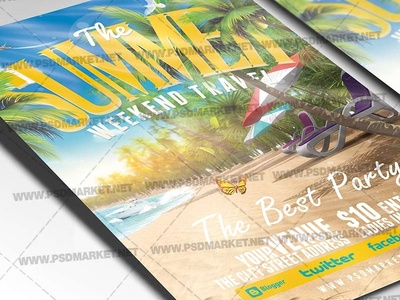 Summer Weekend Travel Flyer - PSD Template