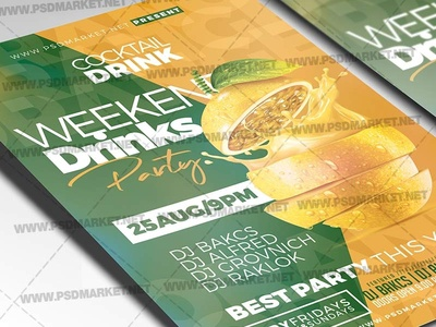 Weekend Drinks Flyer - PSD Template