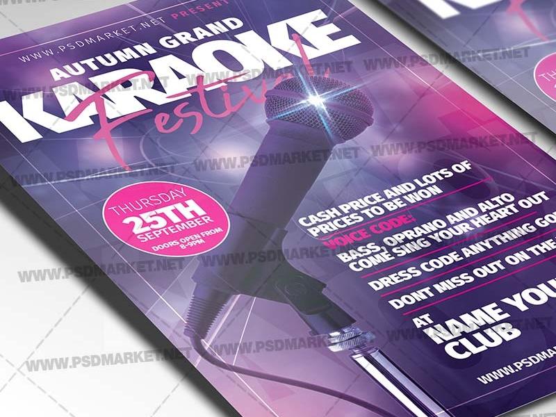 Karaoke Festival Flyer - PSD Template karaokeparty karaoke party download karaoke night poster karaoke night flyer karaoke night karaoke flyers karaoke flyer flyers flyer party flyer examples event flyer design drink karaoke poster drink karaoke flyer