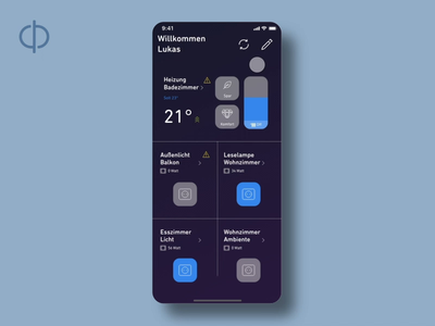 Mobile app concept for smart home devices animation design ux prototype concept dect fruit smarthome apps