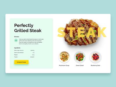 Perfectly Grilled Steak simple minimal light layout ipad yellow food adobe xd templates adobe xd 2d 3d typography design web flat ux ui