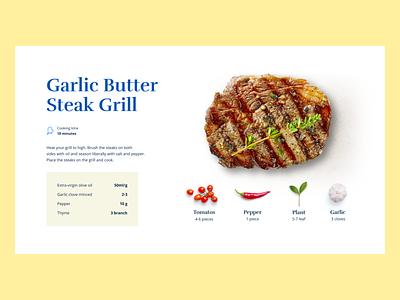 Garlic Butter Steak Grill typography food illustration simple flatdesign white 2d food minimal website web design flat ux ui