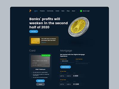 Premium Banking typography finance dark ui ux ui website web dark minimal flat design adobexd adobe 2d
