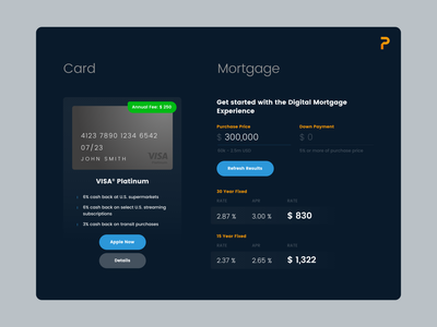 Card & Mortgage widget web uiux ui typography widget flat finance design darkui adobexd adobe 2d