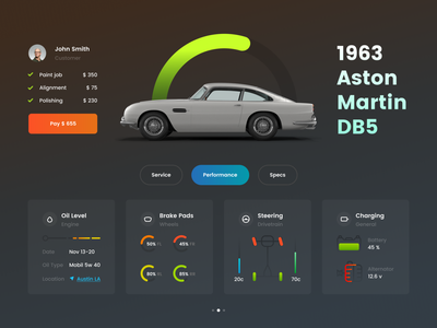 Car Service dark dashboard ui dashboard widget service car 2d minimal app web typography design flat ux ui