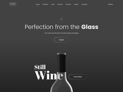 Glass web blackandwhite dark bottle wine 2d minimal web typography design flat ux ui