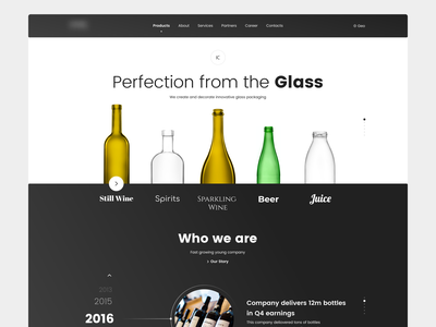 Glass Home Page black blackandwhite figma 2d minimal web typography design flat ux ui