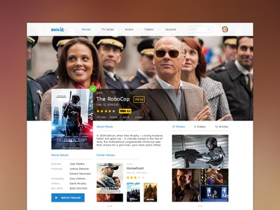 Movie UI ui flat simple user interface movie film description player news