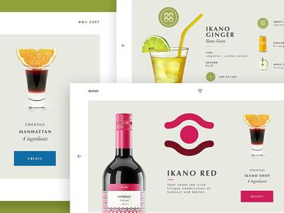 Ikano Web Page behance interaction ingredients cocktail bottle wine ikano web ux ui