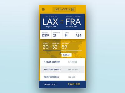 Flight app ios design countdown trip lufthansa booking app flight ux ui