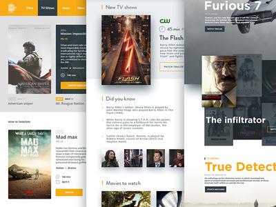 Film database layout flat poster database film movie ux ui