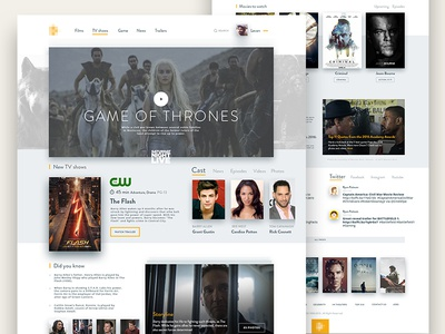 Movie Database Concept typo layout flat poster database film movie ux ui