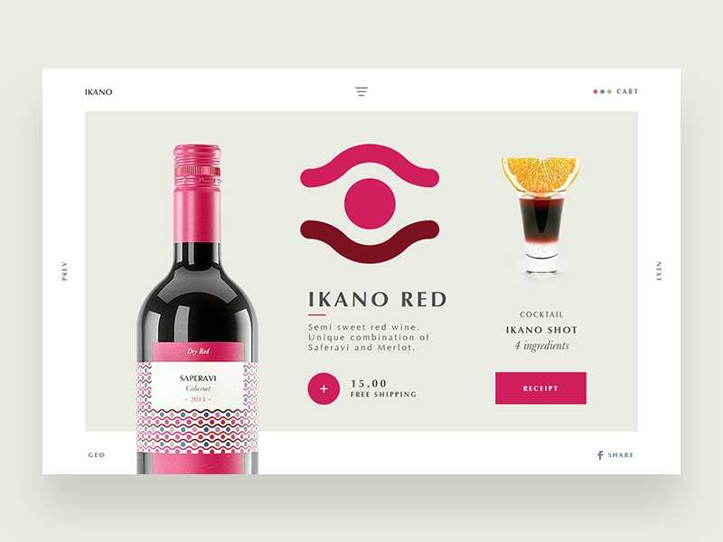 Red Wine ikano wine red flat typography ux ui