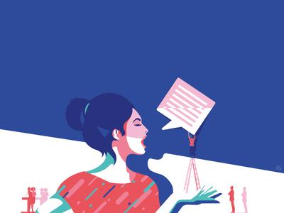 An «opinionated» woman for Barnard College (NYC) digital illustration artwork pop art illustration illustrator shame harcelement mental health opinion speech rights womens woman