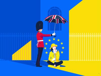 Brexit - night & day digital illustration pop art illustrator illustration sun rain guard queen welsh umbrella union european european union europe london uk brexit