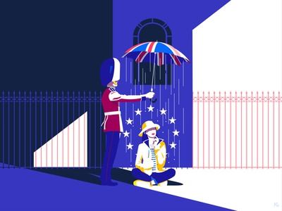 Brexit - day & night umbrella union guard queen welsh european union european europe london uk brexit digital illustration artwork illustrator illustration