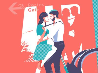 Homecoming digitalart digital illustration artwork pop art illustrator illustration love airport reunion homecoming couple
