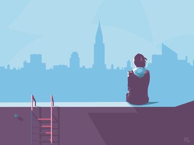 MILA - back cover artwork digitalart digital illustration pop art illustrator illustration rooftop skyline new york book cover design book cover art book cover cover back book