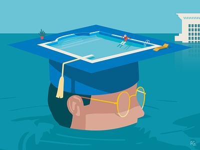 Student inequality society funds university drowning swimming pool student study digital illustration artwork illustrator illustration