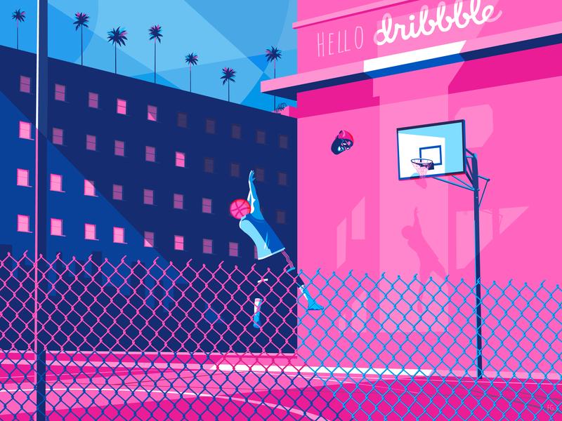 Hello dribbble ! vectorart digitalart pop art artwork daily adobe hellodribbble basketball shot 80s style 80s illustration illustrator dribbble invite dribbblers dribbble