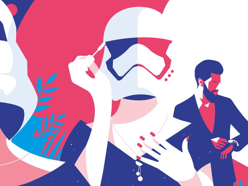 Ignoré.e 80s mask storm trooper stormtrooper troopers trooper digital illustration digitalart vector design pop art print illustrator illustration mental equality woman couple makeup mirror