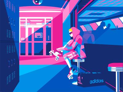 Well-to-wheel skating center roller skating wheel pepsi adidas originals vintage roller derby roller sport artwork digital illustration design 80s style pop art 80s illustration illustrator digitalart competition training
