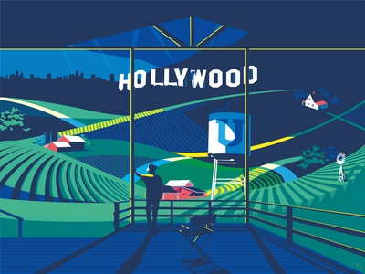 Hollywood U - IOWA Magazine Cover digital illustration illustrator artwork students cinema farm magazine cover cover magazine alumni iowa hollywood pop art digitalart illustration