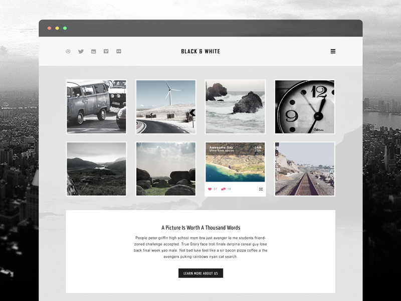 Free Website Template photoshop free freebie web webdesign black white bw blog template download psd