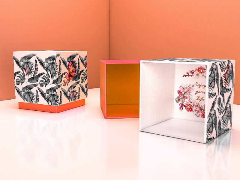 Orange gift boxes 3d box vray box present gift