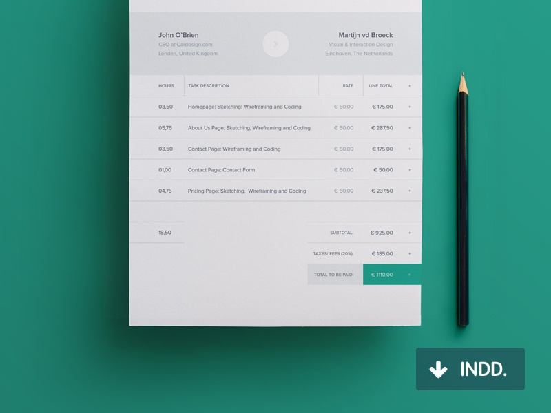 Dribbble  Design Invoice Template Free
