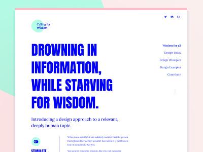 Calling for Wisdom - Webdesign blue typography bold ux ui interaction design wisdom