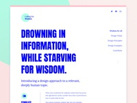Calling for Wisdom - Webdesign blue typography bold ux ui interaction design wisdom