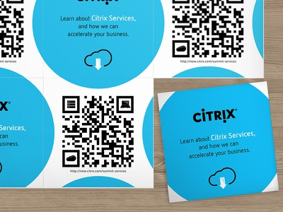QR Promo Cards, Citrix blue cloud citrix luxe moo cards moo business cards