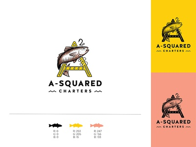 A-Squared Charters ocean fish charters fishing colors identity branding logo