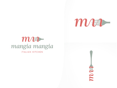 Mangia Mangia Logo type letters typography mangia pasta spaghetti food italy italian restaurant branding logo