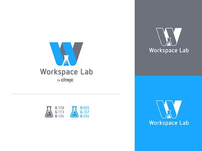 Workspace Lab Logo technology science labs beaker type letter simple w branding logo