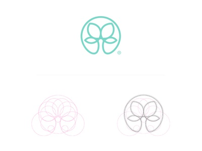 Symmetree process circles logomark icon minimal geometry shapes symmetry tree branding logo