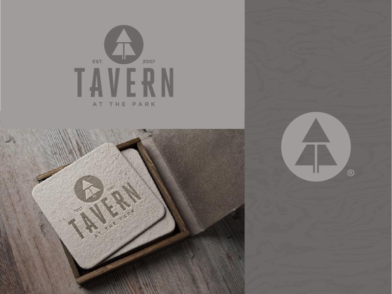 Tavern: at the park icon typography nature pub bar restaurant branding logo