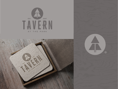 Tavern: at the park icon typography nature pub bar restaurant branding logo