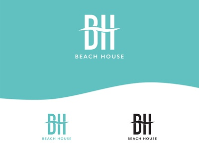 Logo For BeachHouse letters water travel boutique ocean wave hotel beach branding identity logo