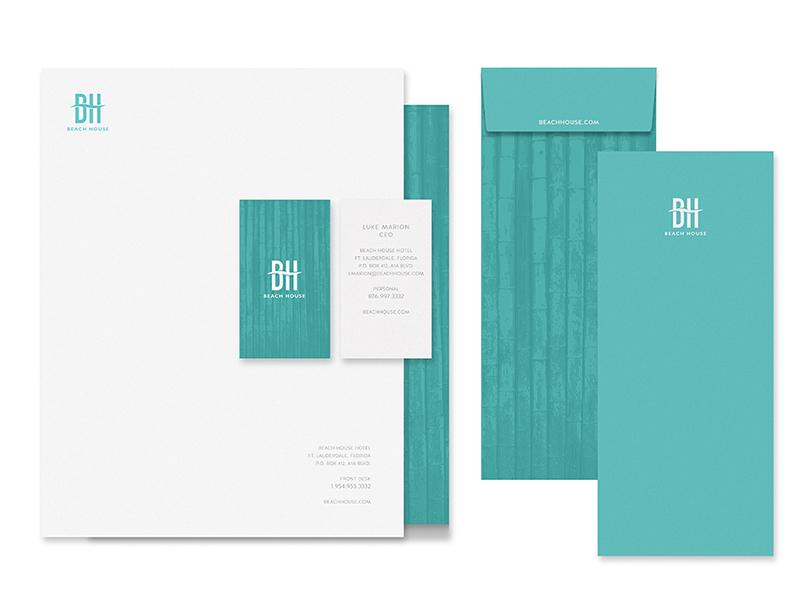BeachHouse Stationary water beach pattern brand branding logo hotel envelope letter stationary