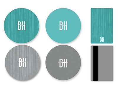 BeachHouse Collateral 2 water beach pattern brand branding logo hotel bamboo coaster keycard