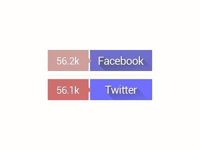 Free PSD - Sweet Retro Share Buttons free freebies retro share button flat long shadow modern facebook twitter