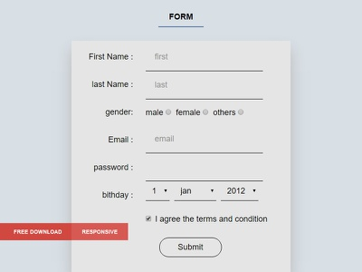 Free - Responsive Sign Up Form template responsive form signup free