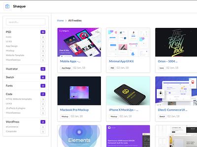 SHAQUE.XYZ - Freebies Hub Launched web html illustrator sketch photoshop wordpress download freebies