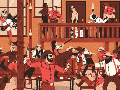 Bar Brawl print design print drawing illustration