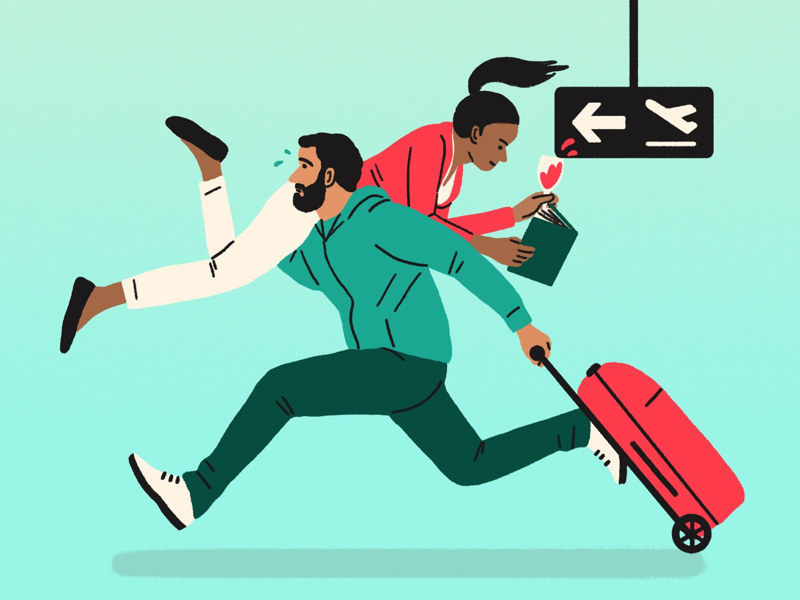 What kind of airport person are you? holiday airport design drawing editorial illustration illustration