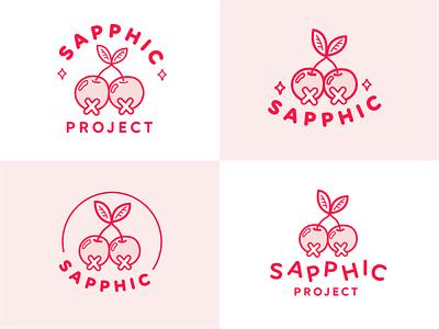 Sapphic Project: Logos logo mark work mark drawing cherry pie sapphic cherry logo design brand identity design typography lgbtq lgbt logo branding design vector illustrator illustration