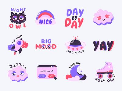 Dreamy Vibes | Snapchat Stickers typography digitalart sticker design pink purple sticker pack snapchat stickers drawing design vector illustrator illustration